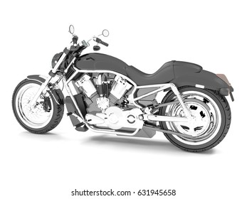 3d rendering classic black motorcycle isolated on a white background.