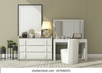 3d rendering classic white room with make up table