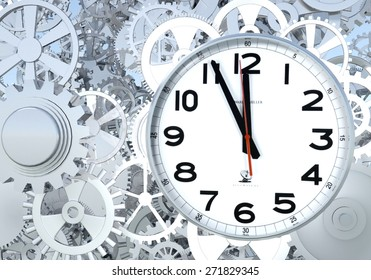 3D rendering Clockwork Background. Close-up Of Clock Watch Mechanism With Gears