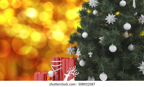 3d rendering close up christmas tree with red candle and warm blur background with space for put words on