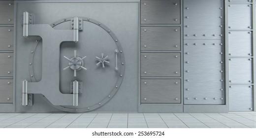 3d rendering of an closed huge bank vault doors front view
