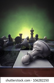 3d rendering of a closeup of a chessboard with a broken pawn