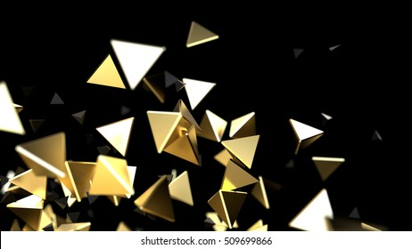 3d rendering close-up futuristic gold background