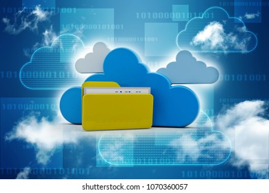 3d rendering Cloud computing concept, cloud storage concep