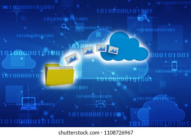 3d rendering Cloud computing concept, cloud storage concept.