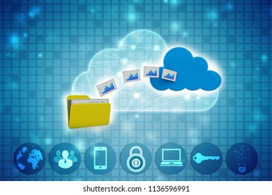3d rendering Cloud computing concept, cloud storage concept