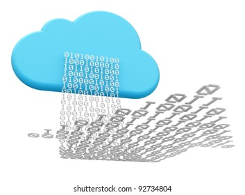 3D rendering of a cloud shape and a digital arrow illustrating cloud computing