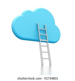 3D rendering of a cloud shape and ladder illustrating cloud computing