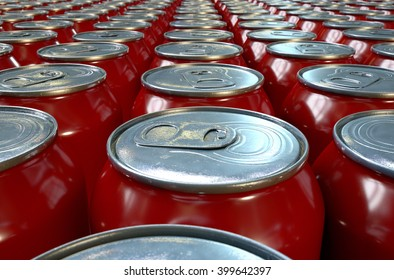 A 3D rendering of a collection of tin drink cans at the end of a factory production line