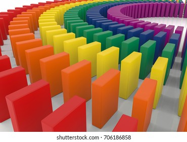 3d rendering. colorful dominoes stand on the white floor