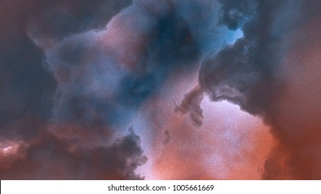 3d rendering. Colorful galaxy in space, beauty of universe, cloud of star, nebula.