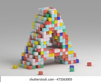 3d rendering of colorful pixeleted alphabet on white background. Fun handmade lettering. Voxels font, 8 bit style type. Cubic 3d, pixel art. Uppercase letter A