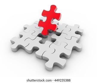 3D Rendering colorful puzzle pieces