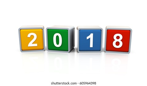3d rendering of colorful text box of happy new year 2018