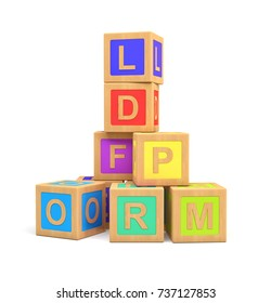 3d rendering of colorful toy blocks with different English letters isolated on a white background. Learning stages. Advanced spelling. Letters for kids.