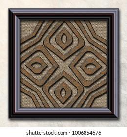 3D rendering combo artwork with fractal and fractal buttons in elegant brown wood frame