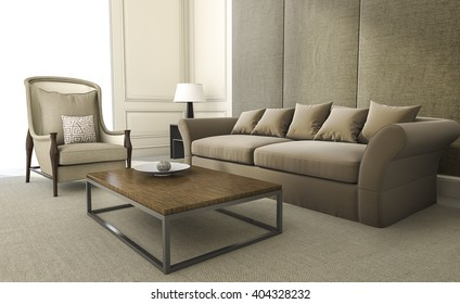 3d rendering comfortable armchair and sofa in living room