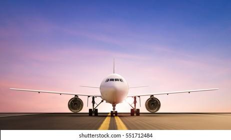 3d rendering commercial airplane on runway