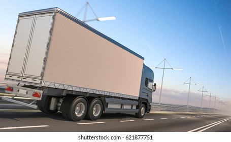 3D rendering of Commercial Delivery Truck with Blue Cab (Rear View)