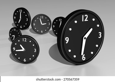 3d rendering of a composition with a lot of black clocks