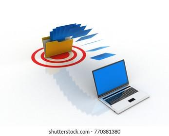 3d rendering Computer folder network on target