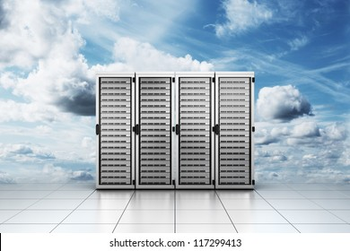 """3d rendering of computer server in the clouds symbolizing """"cloud computing"""""""