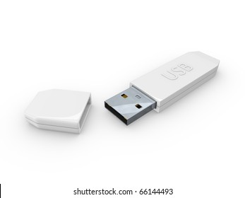 3D rendering concept Digital usb storage. Isolated on white background.
