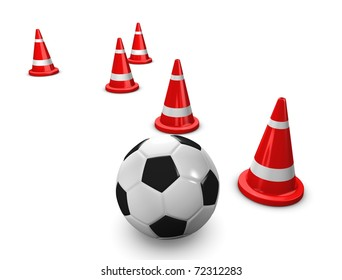 3d rendering, concept image Soccer training session with cones, on white.