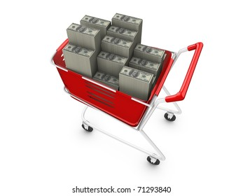 3d rendering, concept image, stacks of money in trolley. isolated on white.