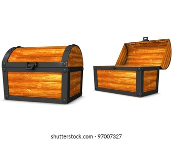 3d rendering, conceptual image, vintage look treasure chest.
