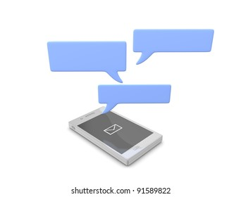 3d rendering, conceptual Smartphone chat, isolated on white.