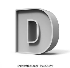 3d rendering concrete letter D isolated on white background, 3d rendering, right leaning