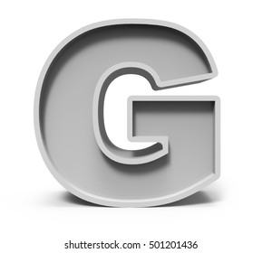 3d rendering concrete letter G isolated on white background, 3d rendering