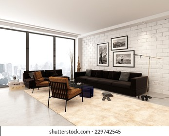 3D Rendering of Contemporary open-plan living room interior in an urban apartment in brown and white decor with art on the walls and a large panoramic floor-to-ceiling view window