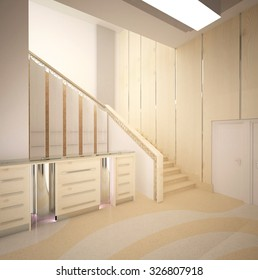 3d rendering of a corridor in office building