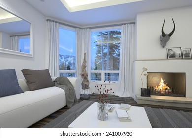 3D Rendering of Cozy living room interior with an upholstered white couch and burning fire surmounted by a trophy alongside a patio door and window