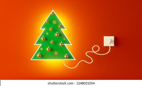 3d rendering Cristmas concept: plugged in socket Luminous Christmas tree on holiday red background. Minimal Christmas creative concept.