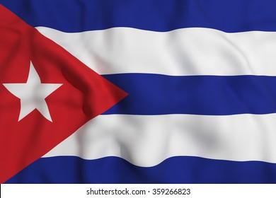 3d rendering of a Cuba flag waving