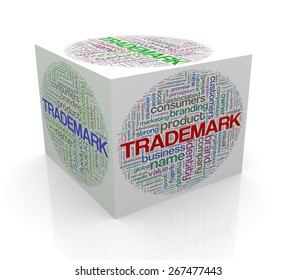 3d rendering of cube box of word tags wordcloud  of trademark