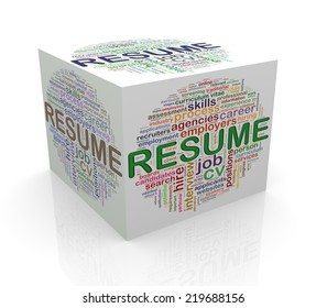 3d rendering of cube box of wordcloud word tags of resume