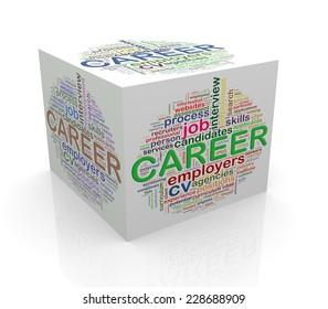 3d rendering of cube box of wordcloud word tags of career