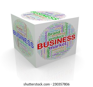 3d rendering of cube box of wordcloud word tags of business