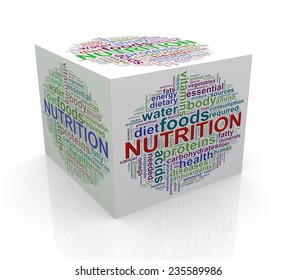 3d rendering of cube box of wordcloud word tags of nutrition