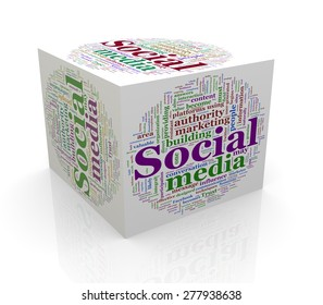 3d rendering of cube box of wordcloud word tags of social media