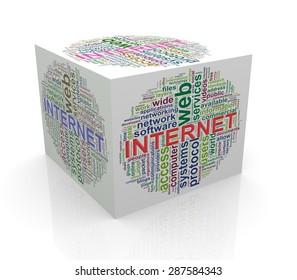 3d rendering of cube box of wordcloud word tags of  internet