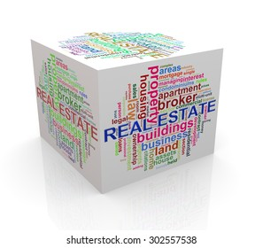 3d rendering of cube box of wordcloud word tags of real estate