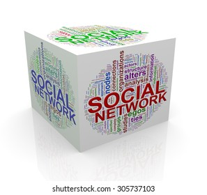 3d rendering of cube box of wordcloud word tags of social network