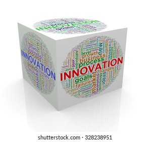 3d rendering of cube box of wordcloud word tags of innovation