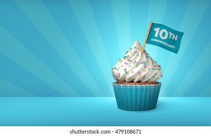 3D Rendering of Cupcake, 10th Year Text on the Flag, Blue Paper Cupcake