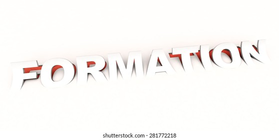 3D rendering of the cut out  word formation in white and red